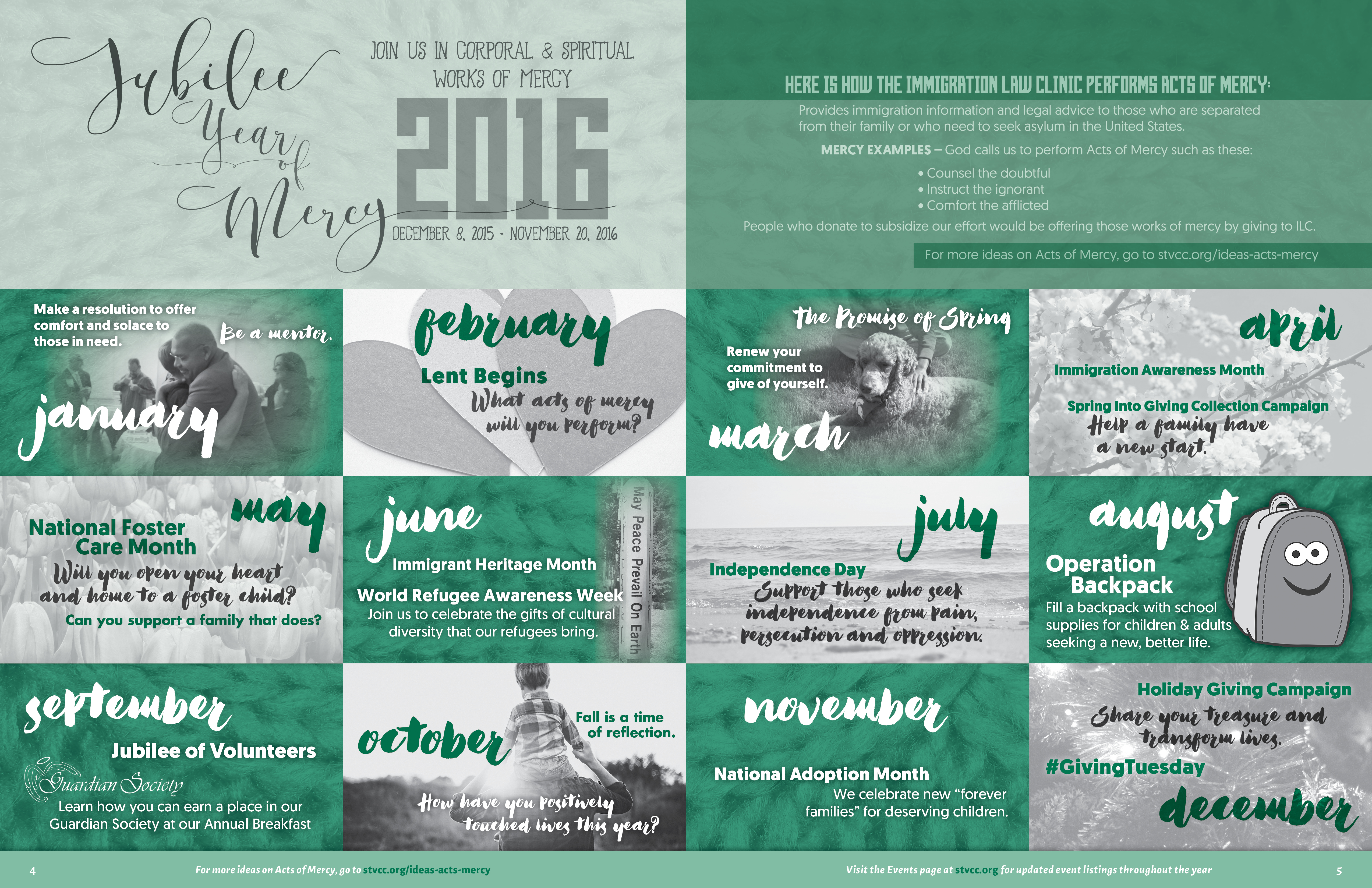 Jubilee Year Of Mercy Calendar St Vincent Catholic Charities
